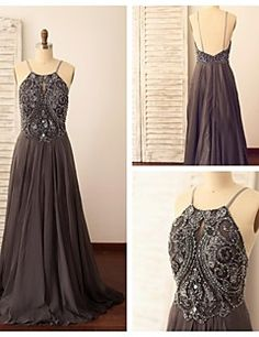 Formal Evening Dress - Silver A-line Spaghetti Straps Sweep/... – USD $ 149.99