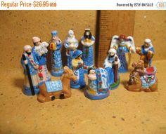SALE BLUE Folk Art NATIVITY Set Mary Joseph Jesus Wise Men 12