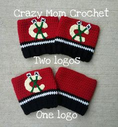 These Blackhawks boot cuffs are a perfect accessory to add to the top of your boots! They are black on the bottom, with a white and black stripe in the middle. The top is a bright red, with the Hawks logo on one or both of the cuffs. You can pick whether you want both of the cuffs to have a logo or only one of them to have a logo on it.  If you select one logo you will have one cuff with the Blackhawks logo on it, and the other cuff will have no logo on it.  If you select both sides logo…