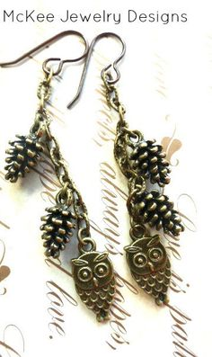 Owl earrings. Owl and Pine Cone charm bronze jewelry. Fall, nature, woodland. andria mckee, McKee Jewelry Designs,   hand made jewelry, jewellery