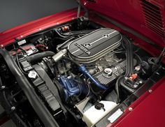 1968 Ford Shelby GT500 Mustang has a  428 Police Interceptor powerplant.