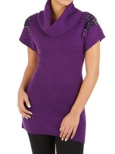 dots: Cowl Neck Tunic Sweater with Studded Shoulders