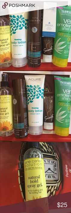 🌺VIRA LIBERATA, ACURE, BORGHESE🌺COMBO 💯full Jane Carter solution, Borghese lip polish,Acure firming Body Lotion, 75%full vita liberata organic self tanning lotion, Alba Botanical After sun aloe vera. Snail repair foam cleanser Makeup Bronzer