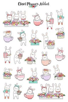 Easter 2019 planner stickers easter stickers cute bunnies etsy bullet journal was ist das Easter Stickers, Cute Stickers, Kids Stickers, Printable Stickers, Planner Stickers, Tier Doodles, Bunny Drawing, Animal Doodles, Posca
