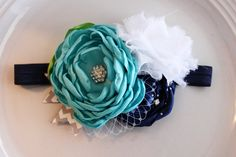 Sailing the Ocean Blue Headband by JensBowdaciousBows on Etsy, $15.50