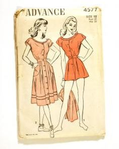 Advance 4577 Vintage 1940s Playsuit Pattern Shorts or Skirt Cap Sleeve Button-Front Opening Bust 30 [4577] - $15.00 : Vintage Sewing Patterns, Patterns For Sale