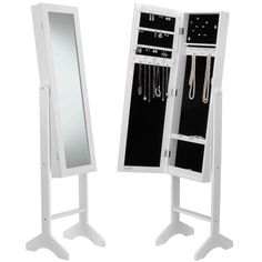 Amazon.com: Beautify Mirrored Jewelry Bedroom Armoire - Standing Organizer Cabinet with Internal and External Mirror - White: Home & Kitchen