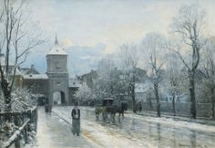 athousandwinds:  Wintry Day at the City Gate, Munich, Germany, 1890, oil on canvas, by Anders Andersen-Lundby, Danish, 1841-1923, impressionist artist specializing in winter landscapes. Last at Giesing auction house in Munich, Germany. Lundby exhibited for the first time in 1864 as his winter paintings became the most popular and it is easy to see why. These subtle colors all lend a sense of cold to the scene as the world is covered in snow and frost.