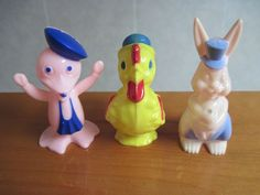 Vintage Lot 3 Easter Hard Plastic Candy Containers Rabbit Duck Rooster Rosen