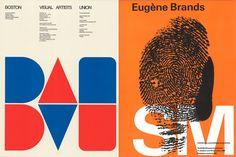 Left: Jacqueline Casey, Boston Visual Artists Union, 1973 © MIT Museum, Cambridge, MA. Right: Wim Crouwel, Eugène Brands − SM, 1969, © Warren Lee, NL Graphic Design, Amsterdam