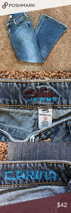 Silver Jeans Flare Carina Style Size 31 These medium wash denim jeans by Silver Jeans are so trendy! They are in the Carina style and are a size 31 with a 33 inseam. These are in very good condition and have purposeful distressing! Make an offer! Silver Jeans Jeans Flare & Wide Leg