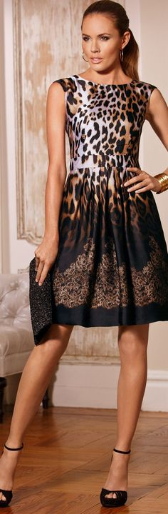 Boston Proper Animal lace ombre dress with beaded clutch and caged sandals. Leopard Print Outfits, Leopard Fashion, Animal Print Fashion, Fashion Prints, Animal Prints, Leopard Prints, Leopard Dress, Animal Print Dresses, Fashion Mode