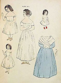 Page from Paper Dolls and How to Make Them, A Book for Little Girls WOMAN and Children 1856