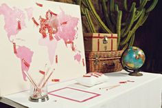 map guestbook - this whole wedding is beautiful.  A different color scheme than I'm looking for, but otherwise the same style and feel.