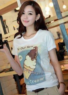 White Loose Cotton Korean Fashion T-Shirt With An Ice Cream Print