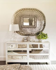 Transitional Cream Bedroom Detail with Mirrored Chest