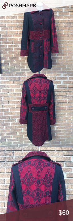 """Fabulous Young Threads red wool black lace coat -M Stunning red/black wool coat with lace detailing. Fabulous Black Crochet over red buttons. Front pockets. Shoulder and back button/strap details. Fully lined. No flaws. Arm 25""""/Shoulder to hem 37""""/Armpit to armpit 20""""/ Waist 18"""" A beautiful thick coat with tons of style!🌹 Young Threads Jackets & Coats"""