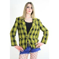 Vtg Vinage 80s yellow and black tartan plaid by SHABBYBABEVINTAGE via Polyvore