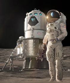 Lockheed Martin has published two new renders of its Lunar lander. The lander seems to be scaled down a little if compared to the concept published last year for an accelerated human return to the Moon as early as Colonization Of Mars, Astronauts On The Moon, Orion Spacecraft, Back To The Moon, Lunar Lander, Arte Sci Fi, Used Engines, Male Cosplay, Apollo 11