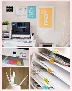 Binder clips for inbox/outbox labels.  Great posters on the wall.  Love WHITE