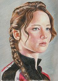 Katniss Everdeen / Jennifer Lawrence  5x7 print by CJepsenFineArt