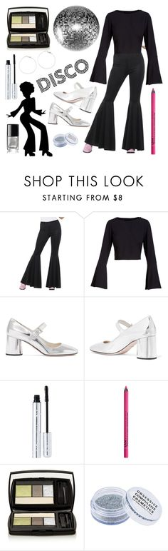 """""""Another Disco Look- Fashion Through the Decades"""" by carolynpence ❤ liked on Polyvore featuring Kendall + Kylie, Prada, 100% Pure, NYX, Lancôme, Obsessive Compulsive Cosmetics, Chanel, nightclub and discoparty"""