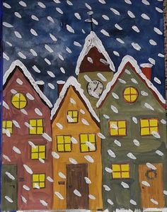 """""""Schneetreiben"""" Schritt-für-Schritt-Anleitung auf instagram #kunst #grundschule #winter #schnee #wasserfarben #ideenfürkunst"""