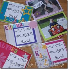 prayer books for children that include P.R.A.Y. pages and photos of family, friends, and many other people and places to pray for