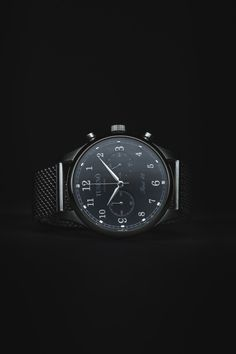 """themanliness:  Tusenö introduces their first watch """"First 42″. Beautiful mecha-quartz watches inspired by the west coast of Sweden. Here is the beautiful Black/Silver watch with a silver mesh strap. Go order one of the first 150 from their Kickstarter and save $100 off the retail price! Tusenö - First 42"""