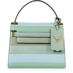 Valentino My Rockstud Striped Satchel Bag (214.390 RUB) ❤ liked on Polyvore featuring bags, handbags, borse, green multi, handbags purses, man satchel bag, green satchel, green satchel handbag and valentino handbags
