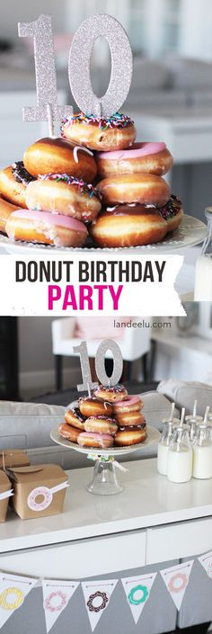 Throw a super fun Donut Theme Birthday Party! It'll be a hit! DIY TUTORIAL - FREE PRINTABLE DONUT SPRINKLE GAME - Everyone loves Doughnuts! http://landeelu.com