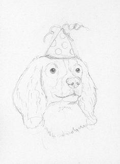 Springer Spaniel Birthday Sketch by Battlekat's Boutique