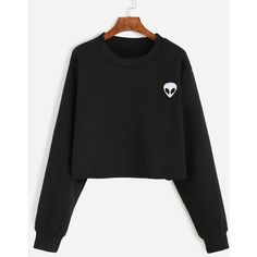 Black Alien Embroidered Crop Sweatshirt (100 CNY) via Polyvore featuring tops, hoodies, sweatshirts, black, long sleeve sweatshirt, round neck crop top, polyester sweatshirt, embroidered crop top and long sleeve crop top