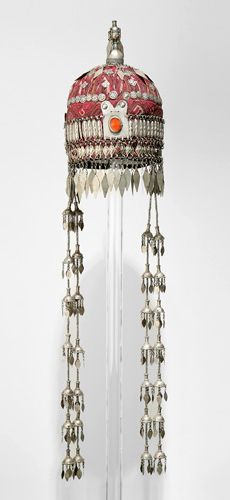 Afghanistan | Woman's cap (Tjubetejka) with headband ornament (Sinsile) and domed finial (Gupb) from the Ersari Turkmen people | Cotton, silk thread, silver and glass beads | ca. 1890 - 1895