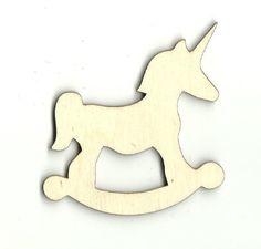 Rocking Unicorn with Marshmallow Unfinished Laser Cut Wood Shape TOY6