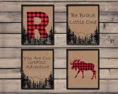 Lumberjack Wall Art Set of 4 Prints Personalized by Babyasaurus
