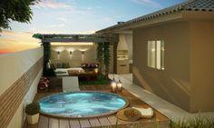 Resultado de imagem para como decorar um quintal pequeno com churrasqueira e piscina