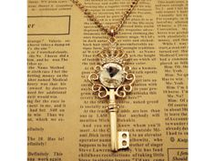 Crown & Key with Pearl Pendant Necklace