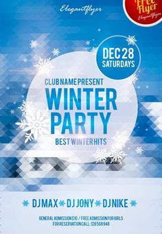"Winter Party Free Club and Party Flyer PSD Template - http://freepsdflyer.com/winter-party-free-club-and-party-flyer-psd-template/ Winter Party Free Club and Party Flyer PSD Template PSD is set up in 1275×1875 dimension (4,6"" with 0,25"" bleed). You can easily change texts, content, images, objects and color palette. The PSD file is very well organised, with color coded groups and layers named appropriately.   #Beats, #Christmas, #Club, #Dance, #Deluxe, #EDM, #Electro"