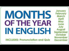 Months of the Year in English - Each month appears on the screen by itself and is pronounced twice. - Then a list of the twelve months appears and the pronun. Month Name In English, Months In English, English Websites, Free English Lessons, Improve Your English, Learn English, Woodward English, January Month, Ell Students