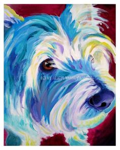 DawgArt: Colorful Pet Portrait Westie Dog Art Print 16x20 by Alicia VanNoy Call. $35.00, via Etsy.