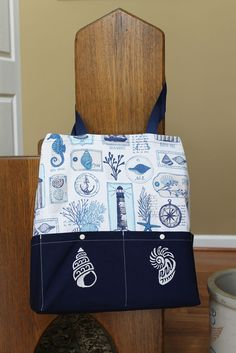 Under the Sea Embroidery designs on the Ten Pocket Tote Under The Sea, Diaper Bag, Embroidery Designs, Pocket, Patterns, Bags, Block Prints, Handbags, Diaper Bags