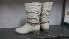 Ivory Half Boot with Ankle Bead Detail. Riding Boots, Combat Boots, Ladies Boots, Army, Bead, Ivory, Ankle, Detail, Shoes