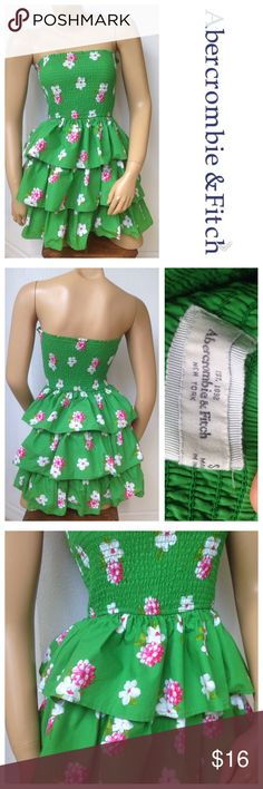 "Abercrombie & Fitch Size Small Strapless Sun Dress Excellent condition; Armpit to armpit - 11"" (stretches comfortably up to 15""); To of bodice to bottom hem - 24""; 100% cotton; Machine wash Abercrombie & Fitch Dresses Mini"