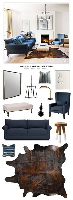 A Chic Indigo Living Room designed by Rose Uniacke featured in Architectural Digest and recreated for less by Copy Cat Chic by @audreycdyer