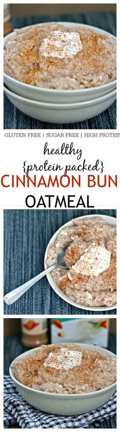 Healthy Cinnamon Bun Oatmeal- The taste and texture of a classic cinnamon bun in a healthy oatmeal form- {vegan, gluten free, sugar free recipe} @thebigmansworld -thebigmansworld.com