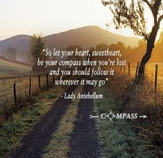 Let your heart sweetheart, be your compass when you're lost.... and you should follow it wherever it may go.