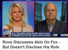 "Fox contributor Karl Rove's political groups have invested more than $900,000 in Akin's U.S. Senate race. Despite this conflict of interest, Fox News brought Rove on to discuss Akin's claim that it's ""really rare"" for women subjected to ""legitimate rape"" to become pregnant.     Naturally, Fox forgot to disclose Rove's special interest in the situation."