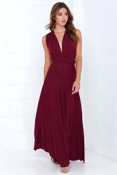 The Convertible Jersey Bridesmaid Dress - 20 Most Popular Red Bridesmaid Dresses for Different Shapes - EverAfterGuide