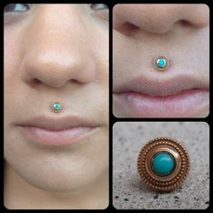mark-thomas: Found the perfect spot for this rose gold/turquoise piece. (at Warlocks Body Pi. Dimple Piercing, Medusa Piercing, Cool Piercings, Piercing Tattoo, Bvla Jewelry, Jewlery, Philtrum, Septum, Feminine Tattoos